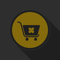 dark gray and yellow icon - shopping cart cancel