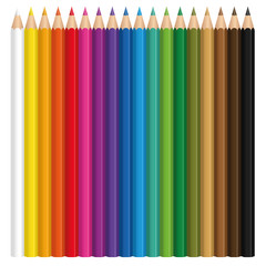 Colored pencil set with wood textured tips. Illustration over white background.