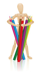 Artist figure holding a bunch of colored pencils. Illustration on white background.