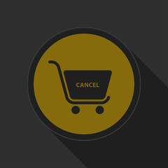 dark gray and yellow icon, shopping cart cancel