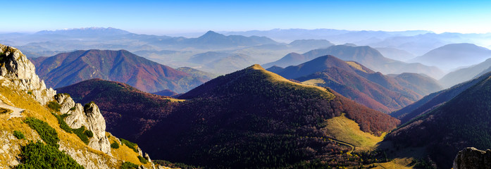 Canvas Prints Hill Panoramic landscape view of beautiful autumn mountains, Slovakia