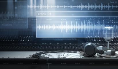 Sound Studio and Tracks Wall mural