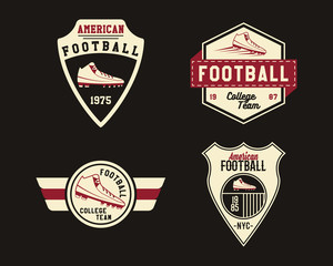 American football badge with cleats, sport logo, label, insignia set in retro color style. Graphic vintage design for t-shirt, web. Colorful print isolated on a dark background. Vector