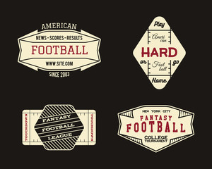 American football field geometric team or league badge, sport site logo, label, insignia set. Graphic vintage design for t-shirt, web, app. Colorful print isolated on a dark background. Vector