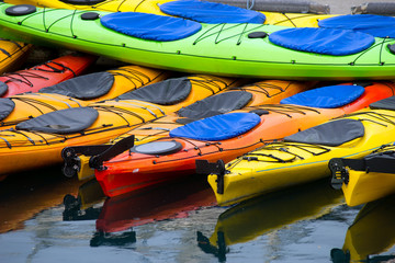 Bright Colors Sport Kayaks Alaska Marine Harbor