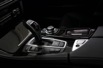 Gear shift in modern car. Interior detail.