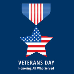 veterans day flat medals icons