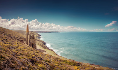 A view of Wheal Coates Tin Mine in Cornwall, UK