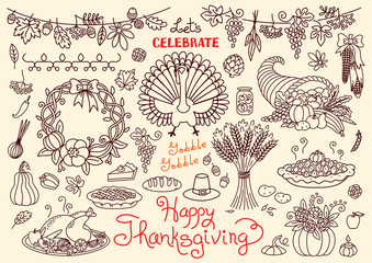 Let's celebrate Happy Thanksgiving doodles set. Traditional symbols - thanksgiving turkey, pumpkin pie, corn, cornucopia, wheat. Freehand vector drawings collection isolated