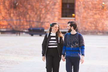 Young hipster couple walking in Stockholm