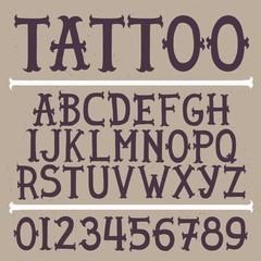 Old school hand drawn tattoo vector font