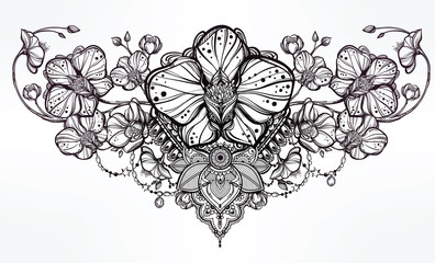 Orchid flower and paisley illustration.