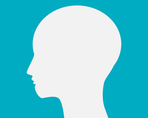 Head white on blue background.