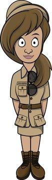 Zoo keeper woman cartoon illustration design