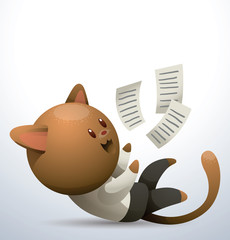 Vector Cat in office, playing with papers. Cartoon image of a light brown cat in a  white shirt, black trousers and a black tie, playing with papers, in the office on a light background.