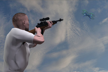rendering of a man with a rifle aiming at a drone