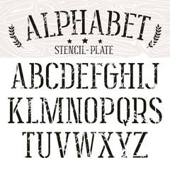 Stencil-plate serif font