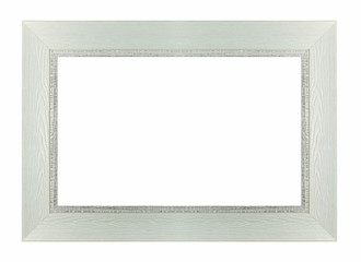Wood white frame rectangle isolated white background, use clippi