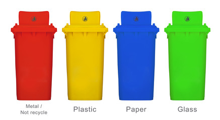 Different colors recycle bin l isolated white background source