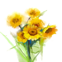 Oil painting Still life yellow sunflowers with green leaf on white background. Hand Painted floral in soft and blur style. Summer - spring flowers nature background