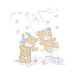 Cute bear cubs that were drawn by hand. Vector teddy bear .