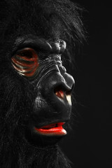 Portrait of a man with gorilla mask
