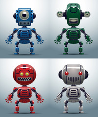 Vector Set of robots. Cartoon image of four funny robots, blue, green, red and white colors on a light background.