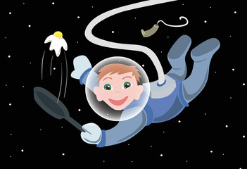 Illustration with cartoon astronaut cook with eggs