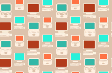 Seamless retro pattern with flat laptops and computers
