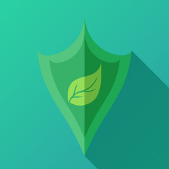 Vector icon with shield and green leaf for your business.