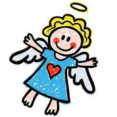 Süßes Engelchen / Kreidezeichnung, bunt, freigestellt, Vektor