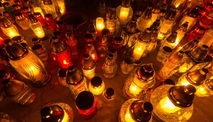 Candles on the graves All Saint's Day