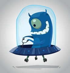 Vector Funny Blue Alien. Cartoon image of a funny blue alien with one eye sitting in a blue UFO on a light gray background.