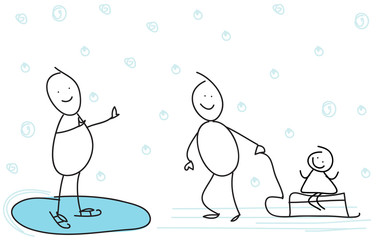 Vector illustration of stick figure couple skating.