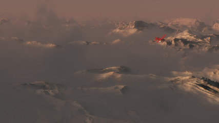 Single engine airplane flying over mountains in evening mist.