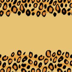Leopard skin animal print border seamless pattern, vector
