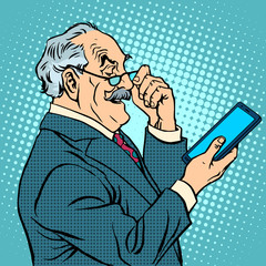 old man gadgets elderly businessman new tablet