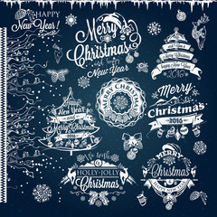 Christmas and New year labels and borders. Decoration set of calligraphic design with typographic labels, and icons elements for you. Hand drawn authors work.