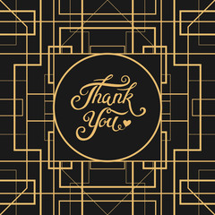 Thank You hand drawn lettering with Art Deco frame