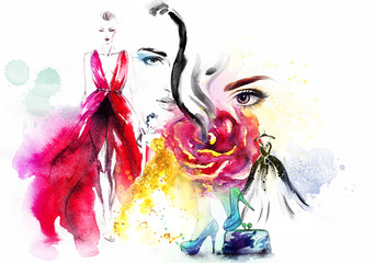 Deurstickers Aquarel Gezicht fashion collage. watercolor illustration
