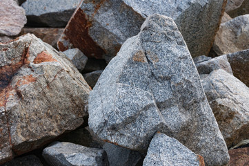 Road construction gravel texture , close up on pile of rocks for