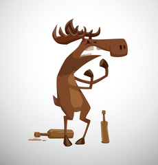 Vector Drunken moose. Cartoon image of a funny brown drunken moose with bottles lying nearby on a light background.