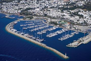 Yacht marina of famous tourism city Bodrum Turkey