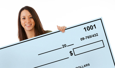 Excited Woman Holds Up Giant Blank Bank Check