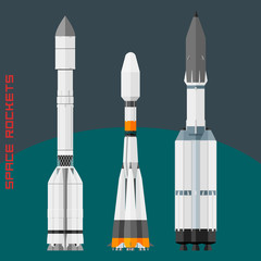 Russian space rockets set. Cargo rocket Progress, universal new Soyuz and Angara