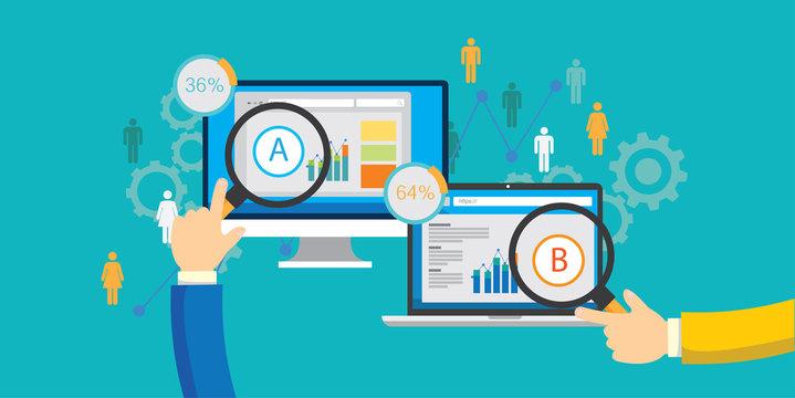 AB testing A/B split test comparison web conversion test