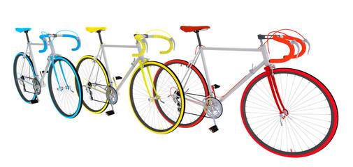 Велосипеды на белом изолированном фоне