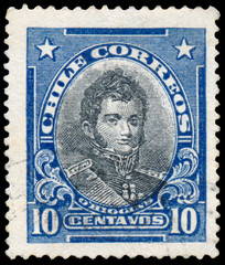 Stamp printed in Chile shows portrait of Bernardo O'Higgins