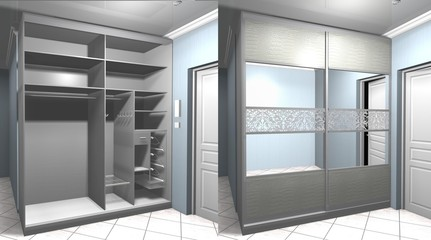 3D-render interior design Cabinet with sliding doors in the hallway