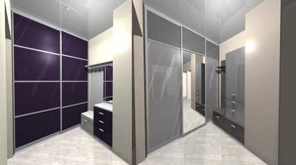 3D render interior design hallway, wardrobe with sliding doors